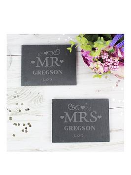 the-personalised-memento-company-personalised-set-of-2-slate-mr-amp-mrs-coasters