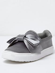 river-island-river-island-pillow-satin-bow-slip-on-trainer