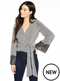 v-by-very-stripe-wrap-top-with-lace-cuff
