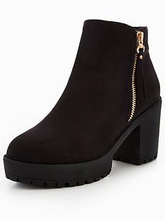 V By Very Anne Chunky Platform Ankle Boot Black