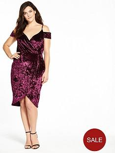 ax-paris-curve-cold-shoulder-wrap-front-bodycon-dress-plum