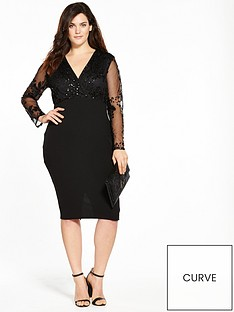 ax-paris-curve-sequin-wrap-front-dress-black