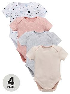 832755c0b Mini V by Very Baby Girls 4 pack Short Sleeve Floral & Plain Bodysuits