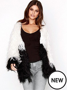 girls-on-film-black-and-white-shaggy-knit-cardigan