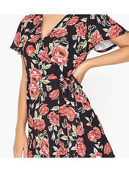 Girls Film Floral on Wrap Dress Clearance Original SNEAMoq