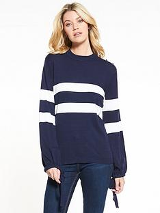 v-by-very-tie-cuff-balloon-sleeve-button-detail-jumper