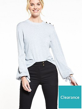 v-by-very-tie-cuff-balloon-sleeve-button-detail-jumper-grey-marl