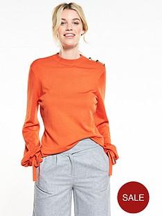 v-by-very-tie-cuff-balloon-sleeve-button-detail-jumper-red-orange