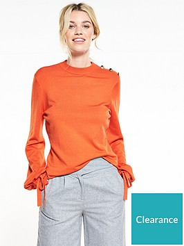 v-by-very-tie-cuff-balloon-sleeve-button-detail-jumper-red-orange