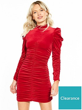miss-selfridge-ruched-volume-sleeve-velvet-dress