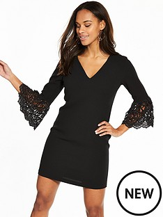 v-by-very-lace-frill-sleeve-tunic-dress-black