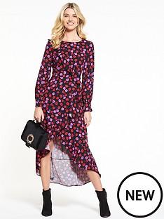 v-by-very-long-sleeve-dipped-hem-frill-midi-dress-floral-print