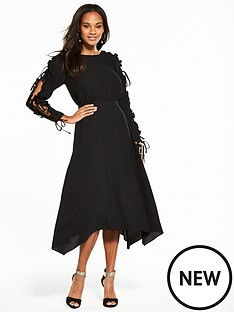 v-by-very-frill-open-sleeve-hanky-hem-midi-dress-black