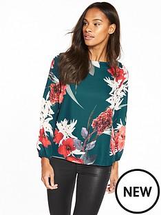 wallis-zip-back-floral-blouse