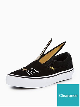 3ce6759e4bcf Vans UY Slip-On Bunny Children Trainers - Black