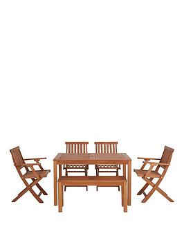 Lingfield Wood Outdoor Dining Set With Picnic Bench And Chairs