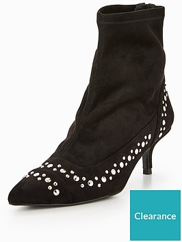 karen-millen-studded-stretch-kitten-heel-ankle-boot