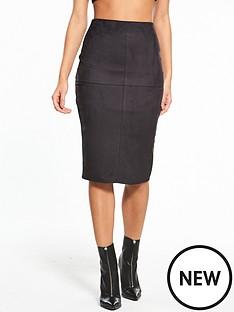 river-island-river-island-suedette-pencil-skirt--black