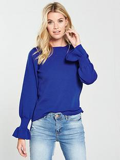 v-by-very-flare-cuff-jumper-blue