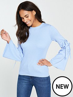 v-by-very-tie-flare-sleeve-rib-jumper-soft-blue