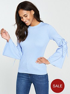 v-by-very-tie-flare-sleeve-rib-jumper-soft-blue