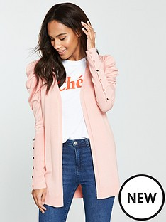 v-by-very-puff-shoulder-button-sleeve-cardigan-blush-pink