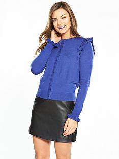 v-by-very-frill-shoulder-and-cuff-supersoft-cardigan-navy