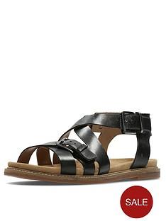 clarks-corsio-bambi-strappy-flat-sandal-black