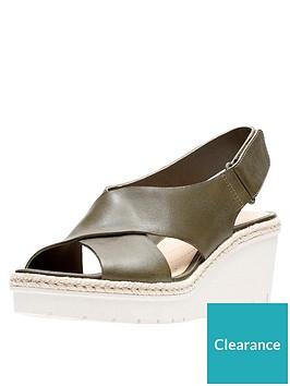 b905d4c51101 Clarks Palm Glow Cross Strap Leather Wedge Sandal - Khaki ...