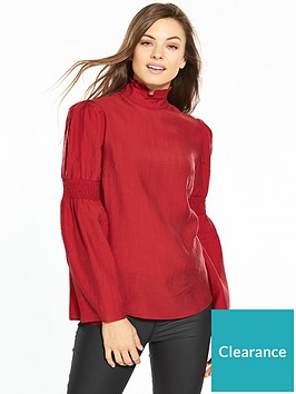 v-by-very-high-neck-fluted-sleeve-top