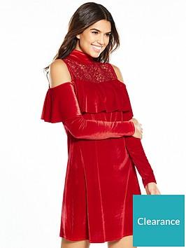 v-by-very-cold-shouler-lace-velvet-dress