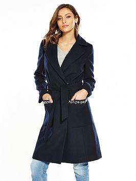 Very Pearl  Trim Navy Wrap by V Coat Discount Browse Free Shipping Low Price Fee Shipping 2018 New Cheap Online Cheapest Price Cheap Price X0H3x
