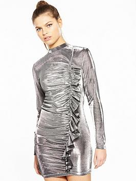 by Dress Metallic V Unique Frill Very Clearance Cheap Buy Sale Online Discount New KIhErz