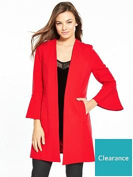 wallis-flute-sleeve-edge-to-edge-crepe-coat-red