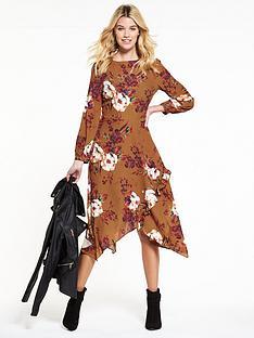 v-by-very-rust-printed-hanky-hem-dress
