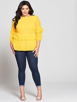 Very Curve Blouse by Pleated V Hem Pay With Paypal Cheap Price Amazon Cheap Price do8SWrA