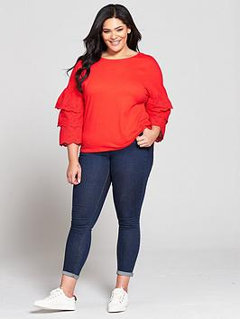 Back Red Very Top  nbsp Sleeve Tiered Cross V Cotton by Curve Low Shipping Fee Sale Online Ax7JT