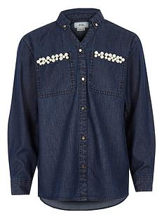 river-island-girls-blue-embellished-pocket-denim-shirt