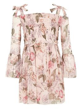 River Island Girls Pink Floral Bell Sleeve Bardot Dress ...
