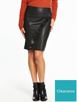 vila-ruffled-leather-look-pencil-skirt
