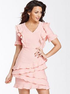 michelle-keegan-textured-ruffle-bodycon-dress
