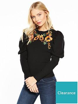 karen-millen-embroidered-drama-sleeve-jumper-black