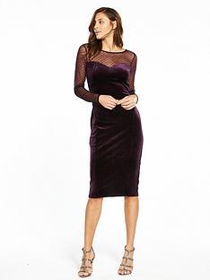 oasis-spot-mesh-velvet-midi-dress-purple