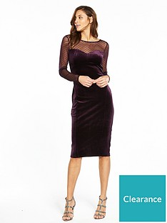 Oasis Spot Mesh Velvet Midi Dress - Purple dd514bb6d