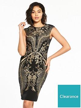 karen-millen-oriental-embroidered-dress-blackgoldnbsp