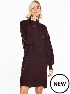 river-island-river-island-balloon-sleeve-dress--aubergine