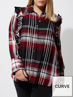 ri-plus-frill-check-shirt--red