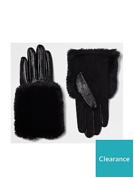 river-island-black-faux-trim-glove
