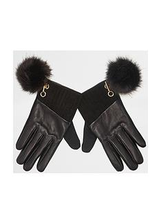 river-island-black-pom-glove