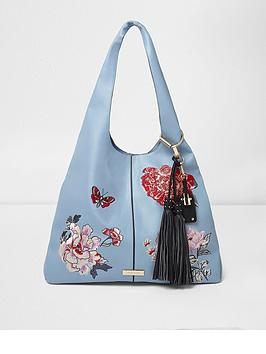 river-island-blue-embroided-slouch-bag